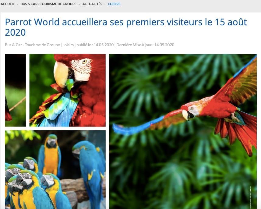 Bus&Car Tourisme de Groupe annonce l'ouverture de Parrot World