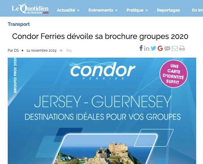 Le Quotidien du Tourisme: Condor Ferries, brochure groupes 2020