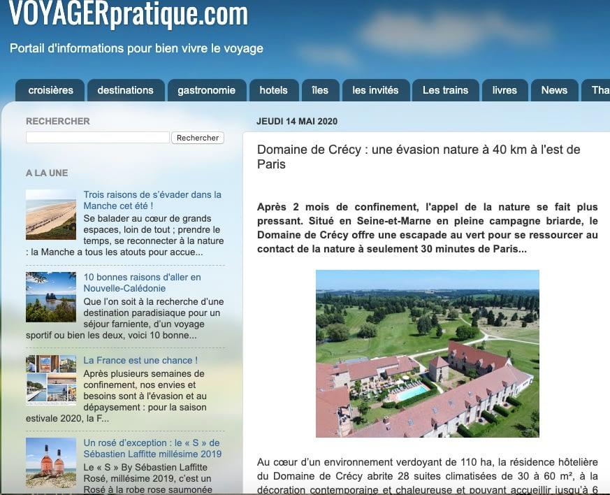 Voyager Pratique : escapade au Domaine de Crécy