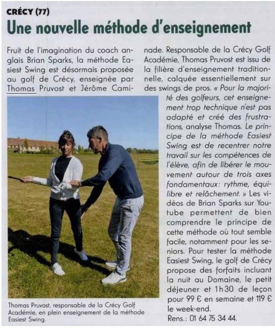 Golf Magazine : Easiest Swing au Domaine de Crécy
